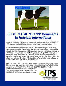 566HO1320 JUST IN TIME*RC *PP Holstein International