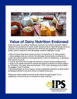 Value of Dairy Nutrition Endorsed