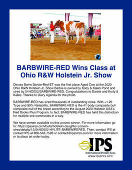 BARBWIRE-Red Wins Class at Ohio Jr. Show