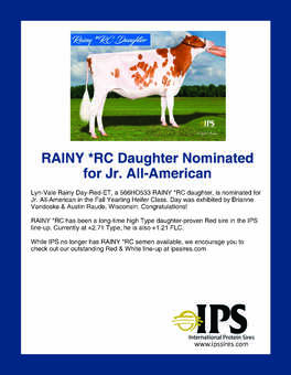 566HO533 RAINY *RC Daughter Nominated for Jr. All-American
