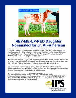 566HO1231 REV-ME-UP-RED Daughter Nominated for Jr. All-American